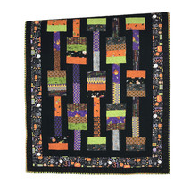 "Halloween Lap Quilt Throw Handmade Cotton Black Orange Purple Prints 50""... - $56.06"