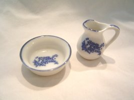 """Home Sweet Home Miniature Pitcher and Wash Bowl Set 1 1/2"""" Total Height Together - $14.99"""