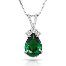 3.70CT Pear Shape Emerald 4 Stone Gemstone Pendant & Necklace 14K White ... - $135.03