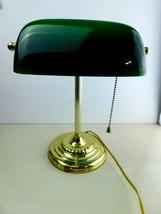Vtg Brass Piano Bankers Desk Lamp Green Glass Shade Brass Base - £25.26 GBP