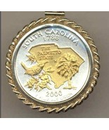 State of South Carolina, 2-Toned,Gold on Silver, Quarter Pendant Necklace - $132.00