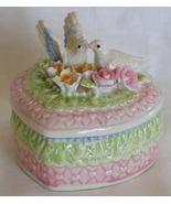 Lovebirds Doves ceramic trinket box Wedding or Anniversary  - $5.99