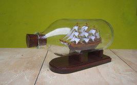 San Juan Miniature Ship in Bottle Very Rare and Unique Handmade - $32.00