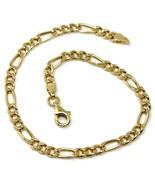 18K YELLOW GOLD BRACELET 3.5 MM ROUNDED FIGARO GOURMETTE ALTERNATE 3+1, ... - $490.55