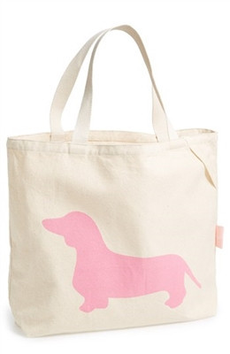 "Romy & Jacob ""Dachshund"" Organic Designer Tote Bag Available in Color Pink"