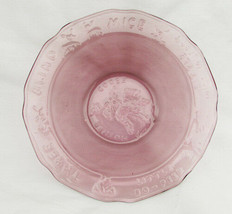 Mother Goose nursery rhyme childs bowl dish Tiara Indiana glass purple glass - $8.50