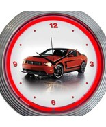 Ford Mustang Boss Car Pair New Neon Clock 15 Inch Set 2 Man Cave Office ... - $137.60