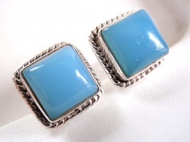 Chalcedony Square Stud Earrings Rope Weave Border 925 Sterling Silver Ne... - $26.72