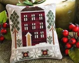Red House In Winter Ornament 2010 Series #6 cross stitch Little House Ne... - $5.40