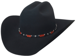 Bullhide Breakaway 10X Beaver Felt Cowboy Hat Leather Band Silver Conchos Black - £130.66 GBP