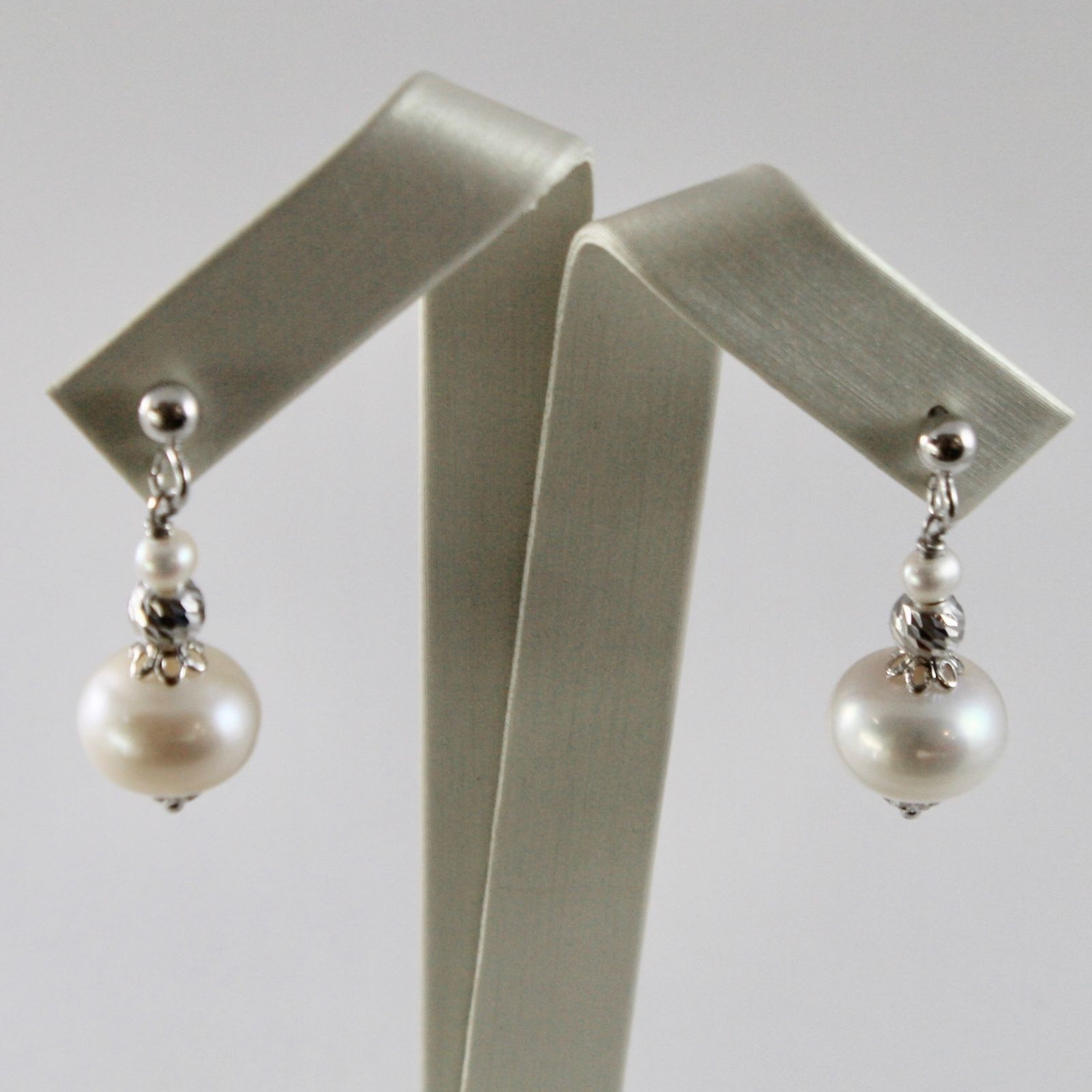 EARRINGS SILVER 925 WITH WHITE PEARLS OF WATER SWEET AND SPHERES FACETED
