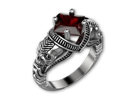 Skull Engagement Ring in Solid Silver New Desig... - $229.00