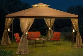 Steel Gazebo Large Canopy Metal Frame Tent Mosquito Curtains Wedding Sun... - $395.99