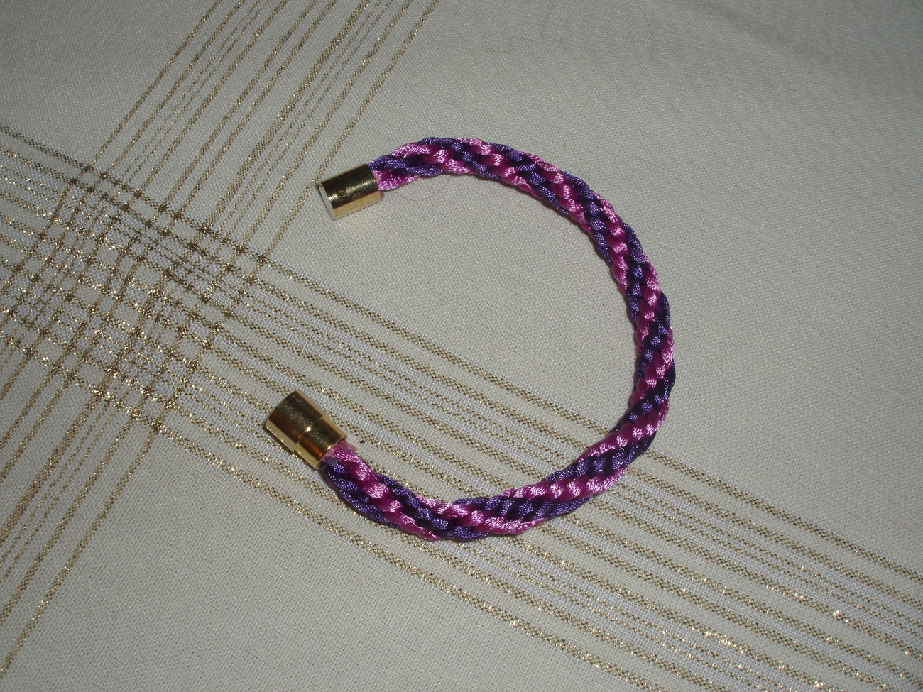 """Kumihimo Beaded Bracelet 8"""" in shades of pink and lavender"""
