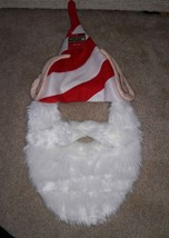 Merry Brite Christmas Holiday White Bearded Elf Hat with Red & White Str... - €3,12 EUR