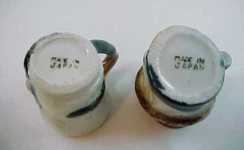 2 Vintage Toby Style Mini Mugs - Made in Japan
