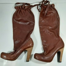Marc By Marc Jacobs Women's Leather Calf Tie High Boots Brown Size 37 Italy - $25.73