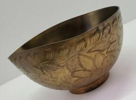 Vtg HARILELA'S India 649 Etched Leaf Brass Gravy Soup Serving Bowl Wavy ... - $29.02