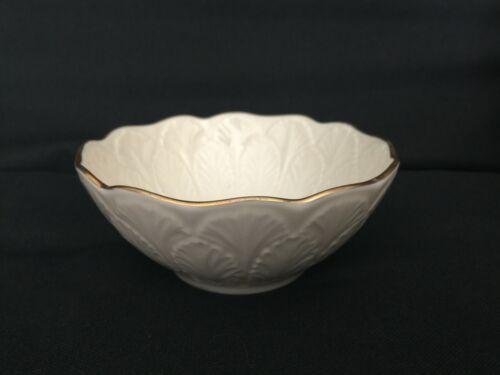 Vintage Lenox Cream Beige 24k Gold Rim Encrusted Bowl Made in USA Leaf Leaves