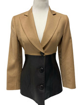Vintage Mackie by Bob Mackie blazer wool leather button front size 4 - $43.91