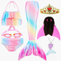 NEW!Rainbow Pink Mermaid Tail With Monofin Fin Fancy Swimmable Mermaid Tail  - $34.99+