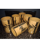 Vintage Bamboo Tiki Cups Mugs Glasses 6 Tropical Hand Painted 1940s 1950... - $20.00