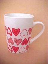 "Royal Norfolk Large Mug 12oz 4.25"" T White w/ Red Hearts - $12.34"
