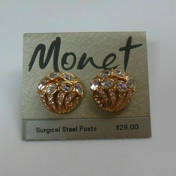 Primary image for Vintage Signed Monet Gold Tone Rhinestone Surgical Steel Post Earrings