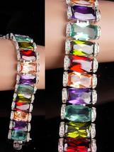 Vintage Statement bracelet / Princess Borghese signed / 240 stones / sil... - $175.00