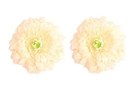Set of 2 Bohemian Style Flower Hair Pins White Peony Brooches