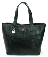 DKNY Donna Karan Shopper Tote Bag Black Leather Croc Embossed Handbag Large - $394.35
