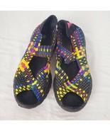 BERNIE MEV Hallie Multi Color Rainbow Woven Mary Jane Shoe Sandal Women'... - $40.69