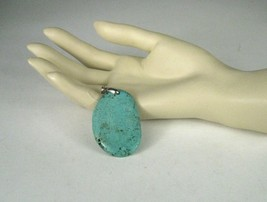 Pendant Genuine Turquoise Silver Tone Jewelry Fashion Pendant ONLY Size 2 x 1.5 - $44.55