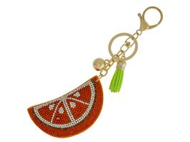 Orange Slice Faux Suede Tassel Stuffed Pillow Key Chain Handbag Charm - $12.95