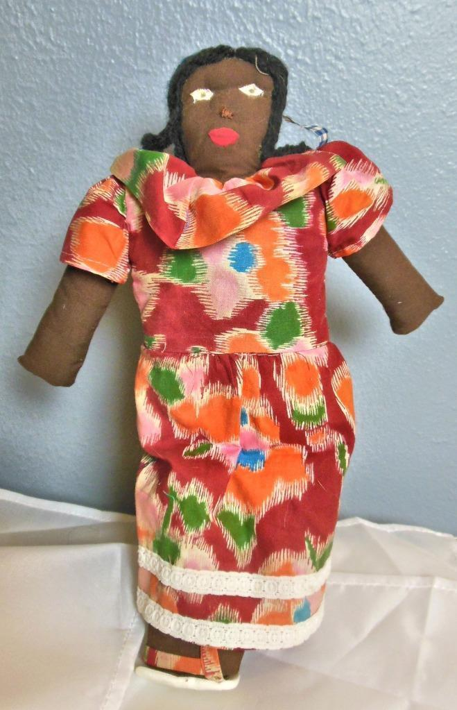 Vintage Black Girl Rag Doll Hand Made 12""