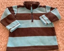 Carters Boys Blue Gray Striped Fleece Long Sleeve Shirt Zip Neck 12 Months - $5.48