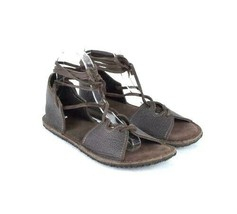 Native Earth Gladiator Sandals Brown Leather Open Toe Ankle Strap Lace Up 9 - $49.49
