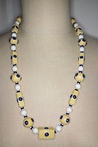 Vintage Blue White Cream Carved Celluloid Art Deco Bead Beaded Necklace ... - $99.00
