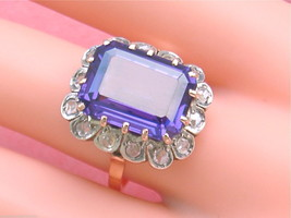 ANTIQUE DIAMOND 10ct ALEXANDRITE-LIKE DICHROIC SAPPHIRE COCKTAIL RING 19... - $1,678.05