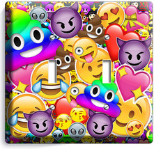TEXT EMOJI RAINBOW POOP ALIEN DOUBLE LIGHT SWITCH WALL PLATE COVERS HOME... - $10.77