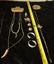 Mixed Lot of Necklaces 2 Italian Horns & Floral Design plus 2 pairs Earr... - $16.83