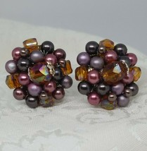 Vintage Earrings Clip On Estate Jewelry Purple  Crystals Beads Signed Japan - $19.79