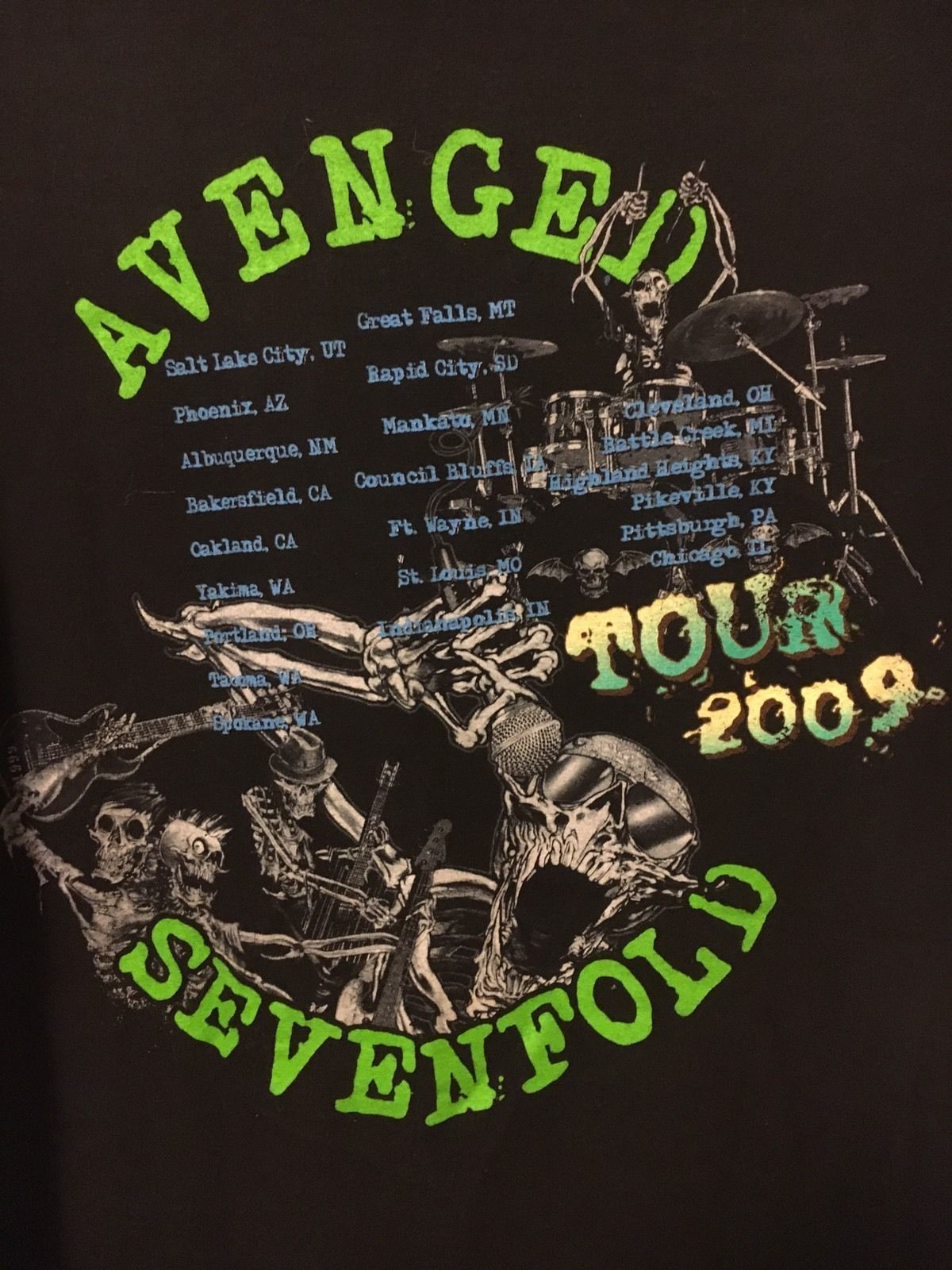 Avenged Sevenfold 2009 Concert Tour XL Black T Shirt Rare