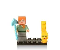 Minecraft Alex with Ocelot Self-Locking Lego ABS Building Blocks Minifig... - $3.95