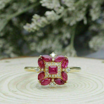 1.20 CT Red Ruby & Diamond 14k Rose Gold FN Floral Style Wedding Ring 92... - $86.89