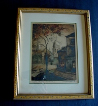 "Antique Etching Framed - Signed ""F. Roux"" - St. Pierre De Montmartre - $19.69"