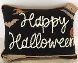 Happy Halloween Bats Broom Pumpkins Throw Pillow Spooky Holiday Home Decor NEW