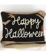 Happy Halloween Bats Broom Pumpkins Throw Pillow Spooky Holiday Home Decor NEW - £19.55 GBP