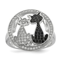 Sterling Silver & CZ Brilliant Embers Cat Ring QMP1149 Size 6 - 8 - $39.29