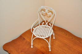 Metal Doll Chair White With Black Speckles Heavy Metal - $15.00